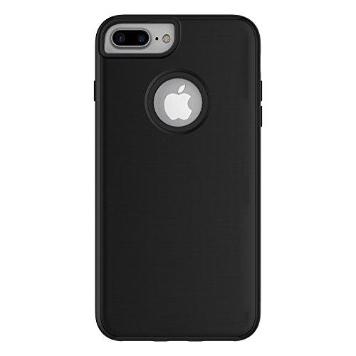 iPhone 7 Plus 5,5 Coque, Voguecase [TPU+PC]Silicone Shell Housse Coque Étui Case Cover Coque de protection double couche pour Apple iPhone 7 Plus 5,5 Revêtement effet brossé du panneau arrière [Ajuste Noir