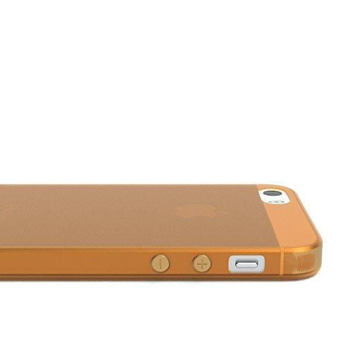 """EAZY CASE Handyhülle für Apple iPhone SE, iPhone 5S/5 Hülle - Premium Handy Schutzhülle Slimcover """"Clear"""" hochwertig und kratzfest - Transparentes Silikon Backcover in Klar / Durchsichtig Matt Orange"""