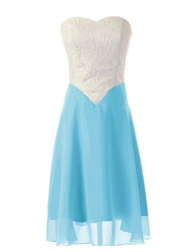 Dressystar Robe de bal/de soirée en Mousseline,Dentelle Bleu