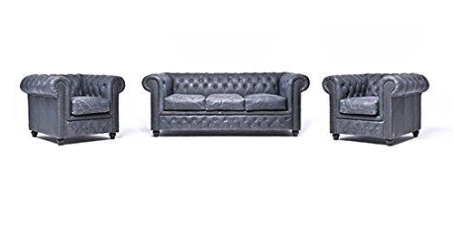 Original Chesterfield Sofa und Sessel – 1 / 1 / 3 Sitzer – Vollständig Handgewaschenes Leder – Vintage Schwarz