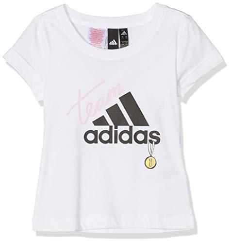 Adidas id graphic t-shirt bambina, white/black, 14-15a