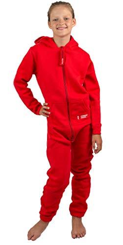 Gennadi Hoppe Kinder Jumpsuit - Jungen, Mädchen Onesie Jogger Einteiler Overall Jogging Anzug Trainingsanzug, rot,110-116