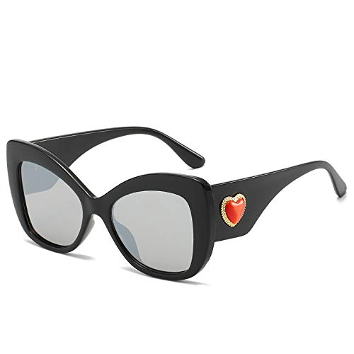 Yangjing-hl New Box Sonnenbrillen Trend Sonnenbrillen Mode Straße schießen Wilde Flut Gläser Hellen schwarzen Rahmen weiß Quecksilber