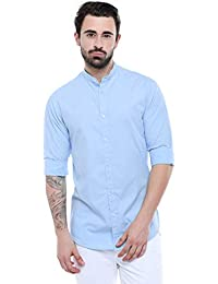 Dennis Lingo Men's Cotton Sky Blue Solid Casual Shirt