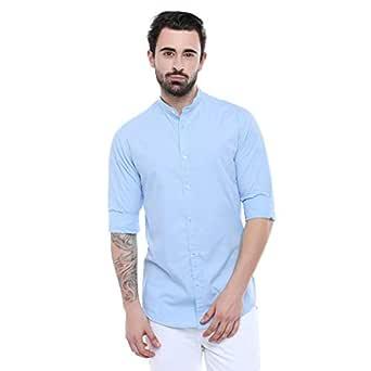 Dennis Lingo Men's Plain Slim Fit Casual Shirt (CC201_Sky Blue_Small)