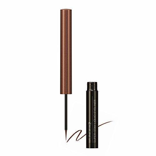 WUNDER2 SUPER-STAY LIQUID EYELINER - Eye-liner Liquide, Waterproof, Tenue 24H, Sans Transfert et Longue-Tenue, Teinte Glazed Chocolate