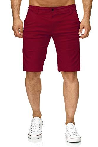 EGOMAXX Herren Chino Shorts Capri Bermuda Kurze Sommer Hose Minimalist, Farben:Rot, Größe Shorts:W31 (Chinos Männer Shorts Rote)