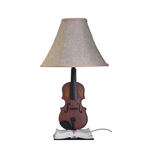 LIZHIQIANG Tischlampe, Schreibtischlampen Fürsorgliche Pflege, Schlafzimmer-Nachttischlampe, Leinenstoff-Nachttischlampe Für Kommode, Wohnzimmer, Kreative Tischlampe Mit Violine