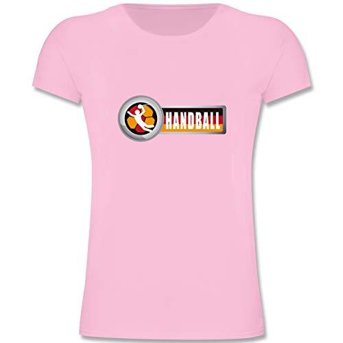 Handball WM 2019 Kinder - Handball Deutschland 2-164 (14-15 Jahre) - Rosa - F131K - Mädchen Kinder T-Shirt