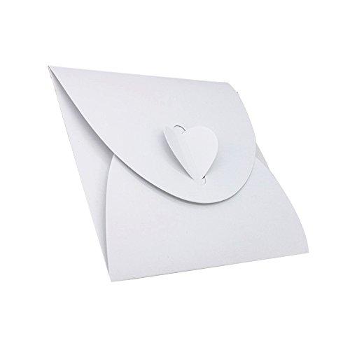 50Stück CD- / DVD-Taschen mit Herzdeko, aus Karton mit Perloptik, Geschenkverpackung Bianco