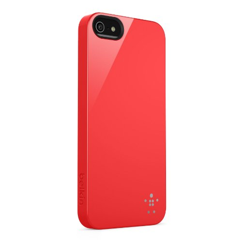 Belkin F8W159VFC04 Shield Case - Cover Custodia per iPhone 5/5S/SE, Rosso Rosso