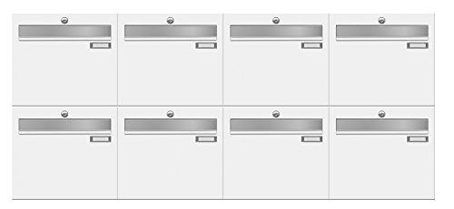 frabox Briefkastenanlage LUIS RAL 9016 verkehrsweiß, mit 8 Briefkästen