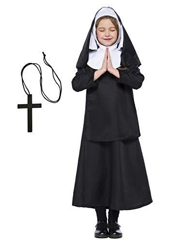 Mädchen Katholische Nonne Kostüm Baby Mädchen Halloween Nonne Kostüm Saint Days Kostüm für Kinder (122/128 (6-7 Jahre))