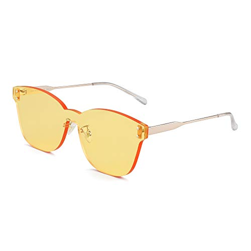 JIM HALO Ein Stück Randlos Sonnenbrillen Damen Transparent Candy Color Getönt Linse Gelb
