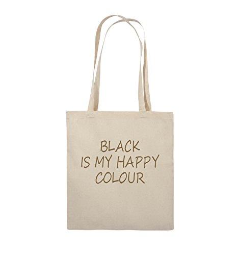 Comedy Bags - BLACK IS MY HAPPY COLOUR - Jutebeutel - lange Henkel - 38x42cm - Farbe: Schwarz / Pink Natural / Hellbraun