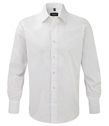 Russell Collection Herren Hemd, langärmelig, pflegeleicht, eng anliegend Weiß - Weiß