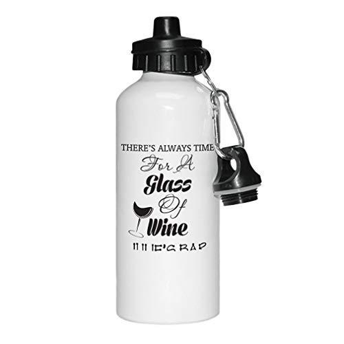 GFGKKGJFD Trinkflasche mit personalisiertem Text für EIN Glas Wein, Aluminium, Weiß, Sport-Wasserflasche, Fitnessstudio, Yoga, Schule, lustiges Geschenk für Frauen für Kinder