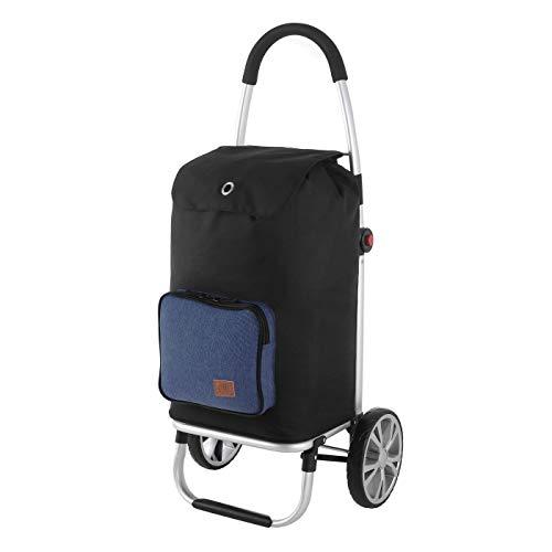 Rada Einkaufstrolley ER/7, robuster Marktroller für den täglichen Einkauf, Handwagen mit 2 Rollen und Griff, Einkaufstrolley mit wasserabweisender Tasche (Volumen 45 Liter) (Blue 2 Tone Cognac)