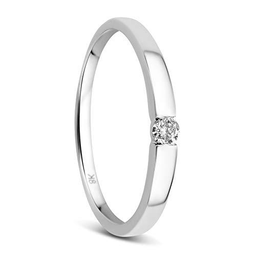 Orovi Damen Diamant Ring Weißgold, Verlobungsring 8 Karat (333) Gold und Diamant Brillanten 0.05 Ct, Solitärring
