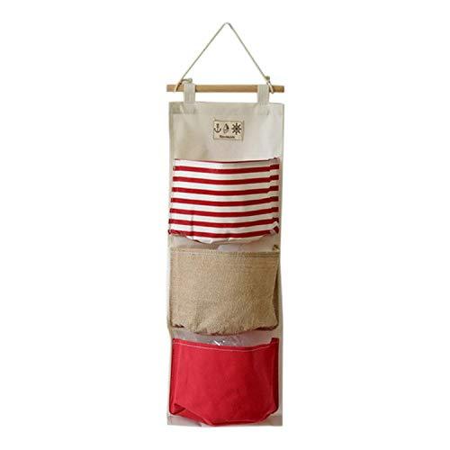 ngshanquzhuyu Aufbewahrungstasche für die Tür, mit 3 Taschen, Marineblau - rot