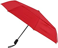 Amazon Brand - Solimo Automatic Travel Umbrella with Wind Vent - Red