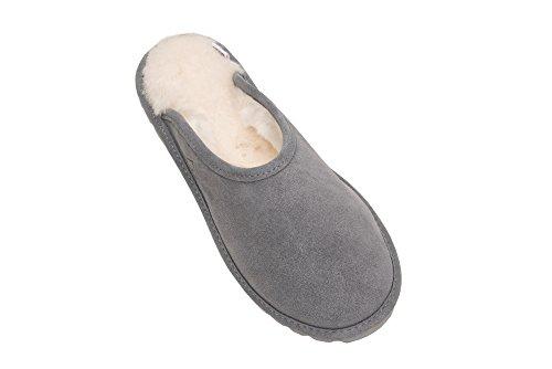 Pantofole Donna Pelle Naturale di Pecora Scape per Casa Imbottitura Calda Lana D68P Grigio/Bianco