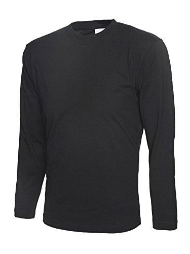 Uneek Langarm-T-Shirt 100% Baumwolle - 2 Farben zur Auswahl Schwarz - Schwarz
