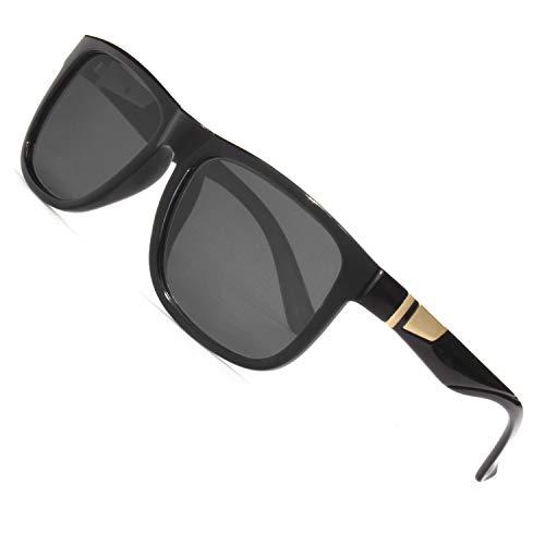 CGID Retro 80er Sport Designer Klassische Sonnenbrille für Männer und Frauen Polarisierte Sonne Gläser Sonnenbrille Brille mit Metalldekoration 100% UV400 Schutz Schwarze Gläser MJ44