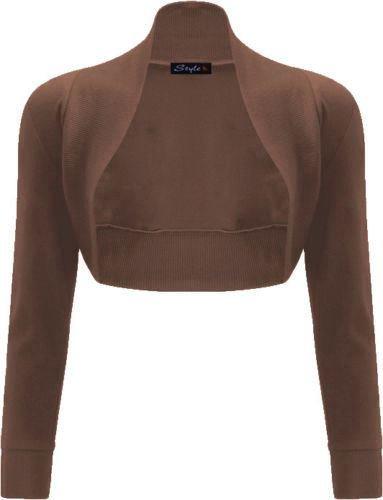 Janisramone donne cotone liscio costine top a manica lunga bolero scrollata di spalle