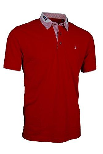 Premium-Poloshirt von Giorgio Capone, einzigartiger Hemdkragen, Pique-Stoff 100% Baumwolle, rot, Regular Fit (XXL) (Polo-shirt Piqué Gestreiftes)
