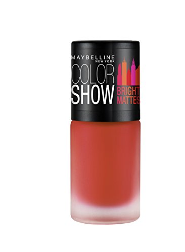 Maybelline New York Cheerful Coral Colour Show Bright Matte Nail Paint, Orange, 6ml