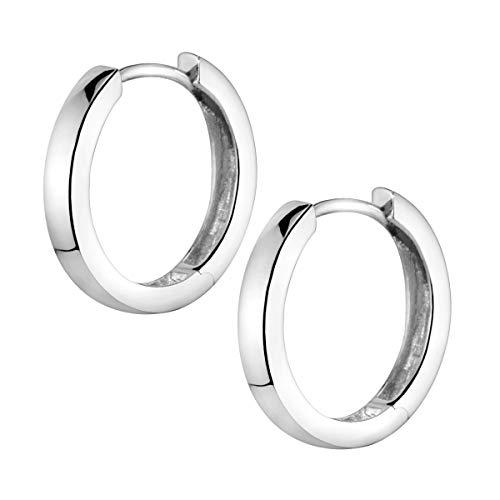 MATERIA Ohrringe Creolen Silber 925 klein - Silbercreolen 17mm nickelfrei für Damen Kinder mit Etui SO-358-Silber_B4