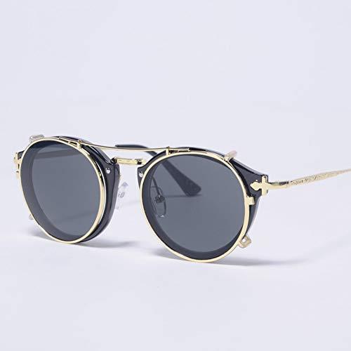 SYQA Weinlese-Sonnenbrille-Frauen-Mann-Klipp auf Sonnenbrille Uv400 Sun Glasses for Men Black,C1