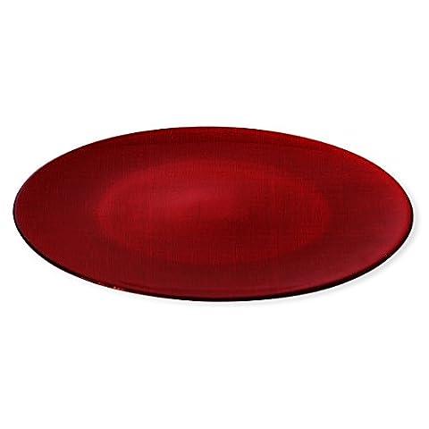 Assiette de présentation en verre rouge 33cm - ASTRID - Bruno Evrard