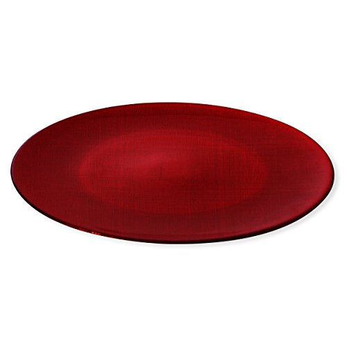 Bruno Evrard Assiette de présentation en verre rouge 33cm - ASTRID
