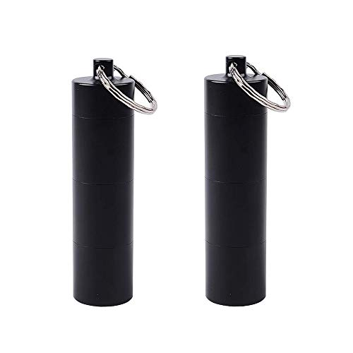 Koitoy 2 Stück Pillendose Schlüsselanhänger, Wasserdichte Pillenbox mit 3 Fächer Metall Kleine Medikamentendosierer Tragbare (Schwarz-2er Metall)