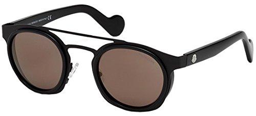 Moncler Unisex-Erwachsene Sonnenbrille ML0022 01L 49, Schwarz (Nero Lucido/Roviex Specchiato)