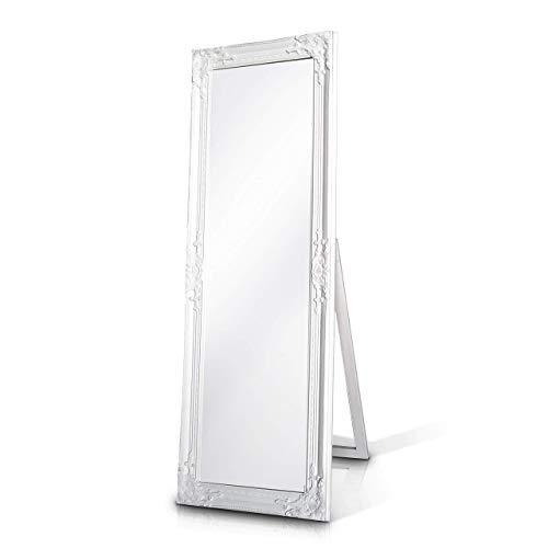 Rococo by Casa Chic - Weißer Shabby Chic Spiegel zum Hinstellen oder Aufhängen - Handgefertigt - Barock - Groß - 130x45 cm - Antik Weiß - Facettenschliff