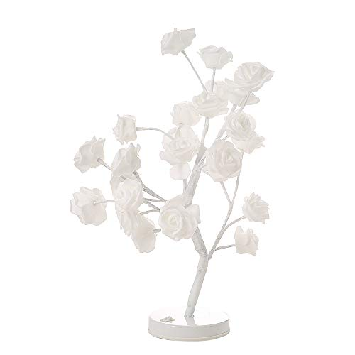 MNEFEL 24 led Rose Blume Lampe Nachtlicht Herzstück Tischlampe Wohnkultur für Valentinstag/Party/Festival/Hochzeit Warmweiß (Herzstück Baum)