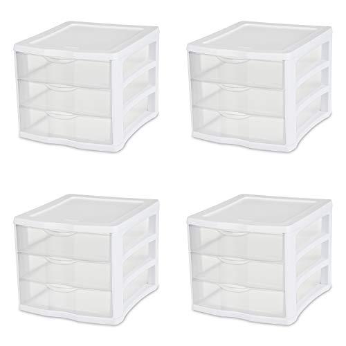 Sterilite 17918004 Schubladenschrank, 3 Schubladen, weißer Rahmen mit transparenten Schubladen, 4 Stück -