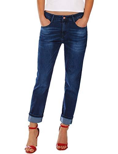 Fraternel Damen Jeans Hose Boyfriend Baggy Stretch Relaxed Dunkelblau L / 40 - W31 Baggy Boyfriend Jeans