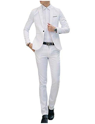 Jueshanzj Herren 2-Teilig Anzüge Freizeit Anzugjacke mit Anzughose Anzug set Weiß M