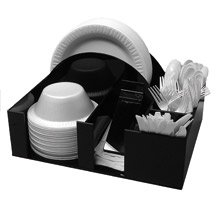 Papier Teller und Schale Halter Serviette Spender Messer Gabel Löffel Organizer, BBQ oder Picknick-Caddy (3014)