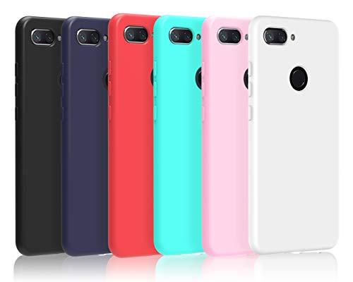 VGUARD [6 Stücke] Hülle für Xiaomi Mi 8 Lite, Ultra Dünn Tasche Schutzhülle Weiche TPU Silikon Gel Handyhülle Case Cover (Schwarz + Blau + Rot + Grün + Rosa + Transparent)