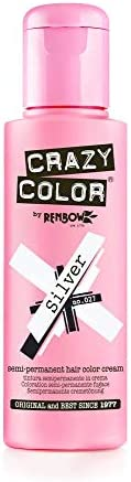 Renbow Crazy Color Semi-Permanent Hair Color Dye zilver 027 - 100 ml, per stuk (1 x 115 g)