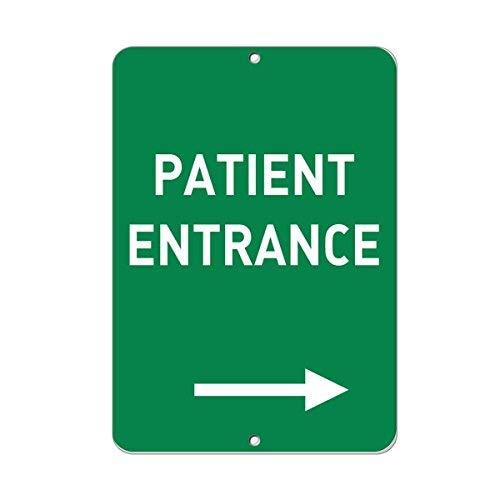 WSMBDXHJ Parkschild mit Pfeil für Patienten-Eingang rechts, Aluminium, Warnschild, lustig, Heimdekoration, Blechschild, Warnschild, 8 x 12 cm