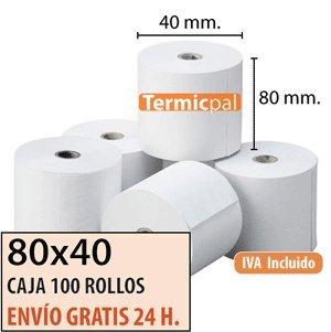 80x40 - 100 Rollos Papel Térmico