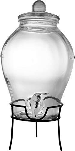 Unbekannt Getränkespender Glas mit Zapfhahn und Ständer Glasbehälter ca.6 Liter Wasserspender mit 2 x Trinkbecher mit Deckel und Strohhalm