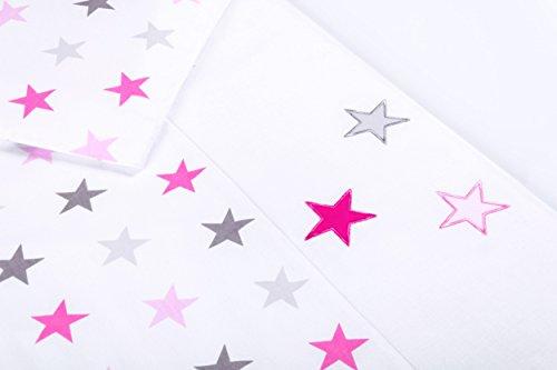 Amilian® Baby Bettwäsche Design: Sternchen Groß Rosa, 80x80 cm + 35x40 cm (2 tlg.)