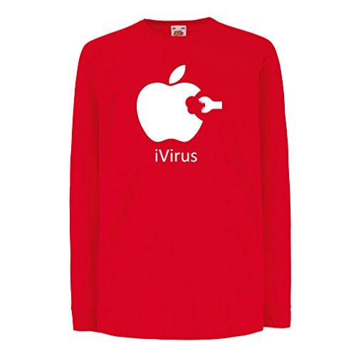 Kinder-T-Shirt mit langen Ärmeln iVirus - Neues tech Liebhaber lustiges Geschenk (14-15 years Rot Weiß)